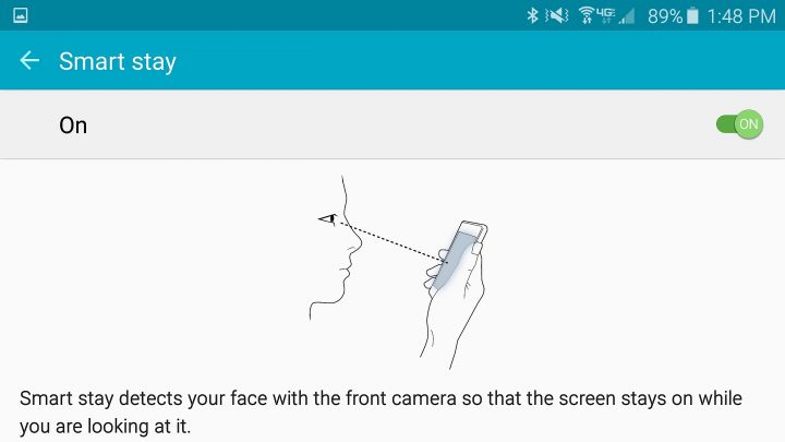Keep the Galaxy S6 screen on when you are looking at it.