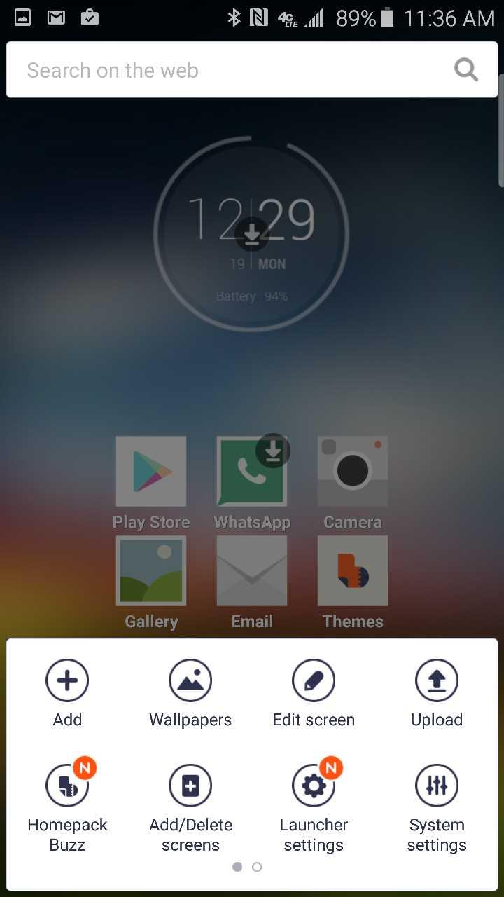 buzz launcher customization menu