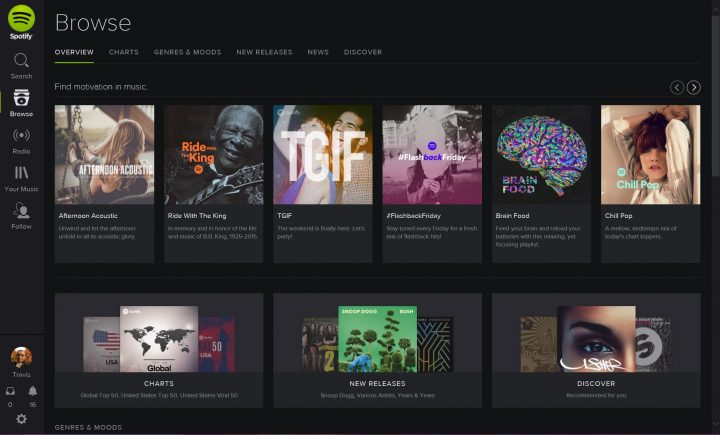 Spotify on Windows 8.1 Web Player