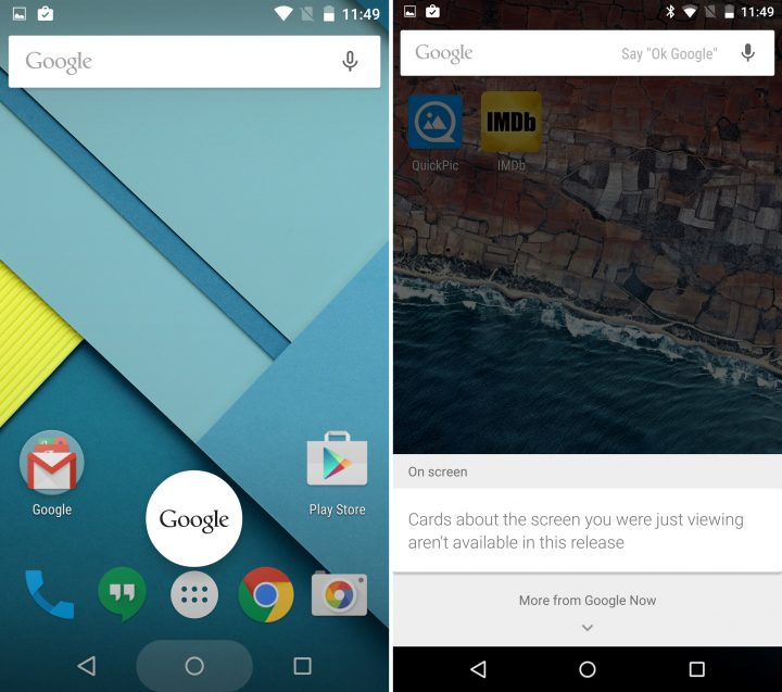 Android 5.1 vs Android M - Google Now