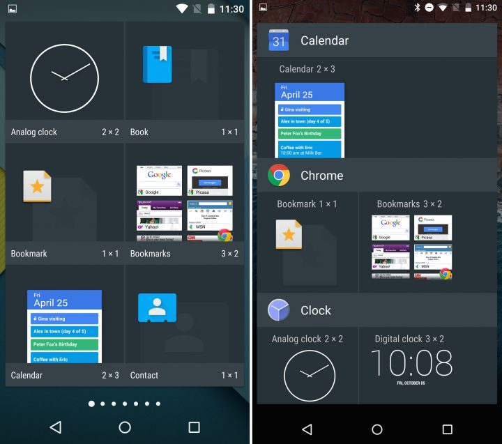 Android 5.1 vs Android M - Widget Picker