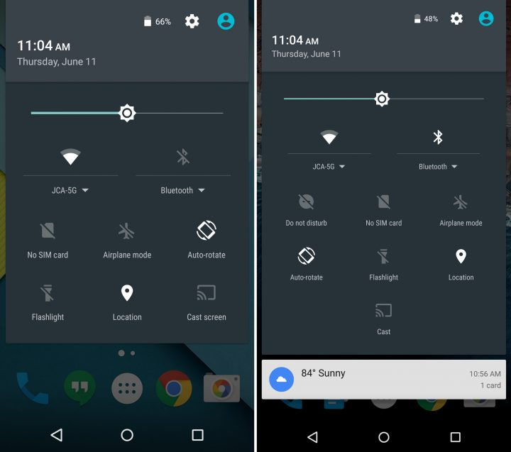 Android 5.1 vs Android M - Pulldown Bar Quick Settings