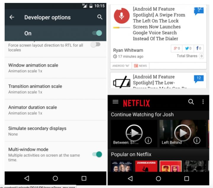 Android M - Multiwindow Mode