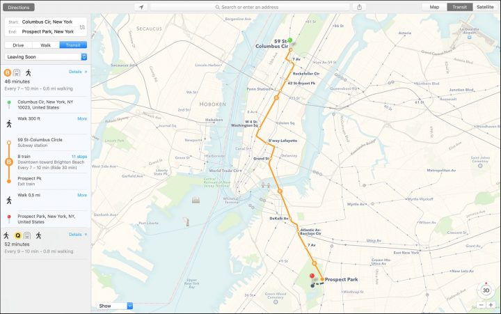 You can now get transit directions in Apple Maps, just like on iOS 9.