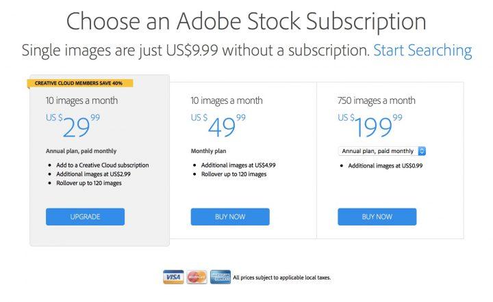 adobe stock photos subscription rates