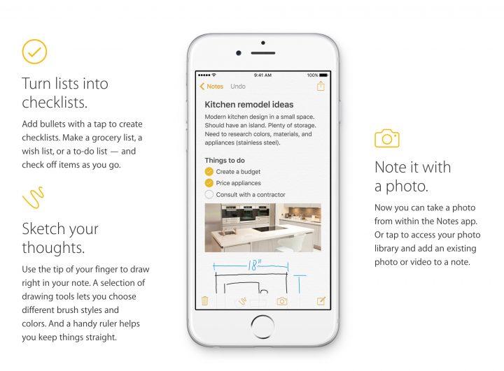 Apple Notes iOS 9 vs iOS 8