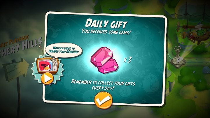 Grab free gems as part of the Angry Birds 2 daily gifts.