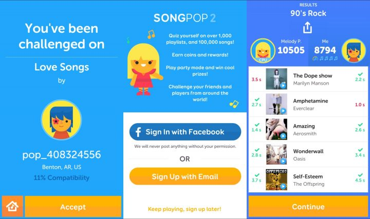 Get the most out of SongPop 2 when you connect to Facebook.