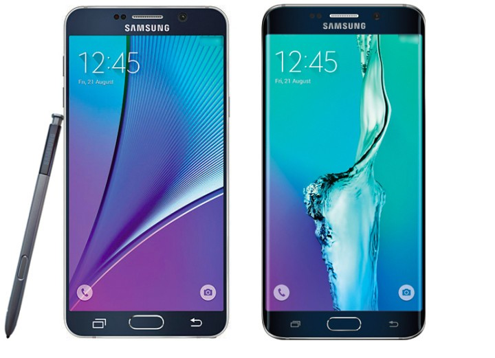 Galaxy Note 5 (left) and Galaxy S6 Edge+ (Right)