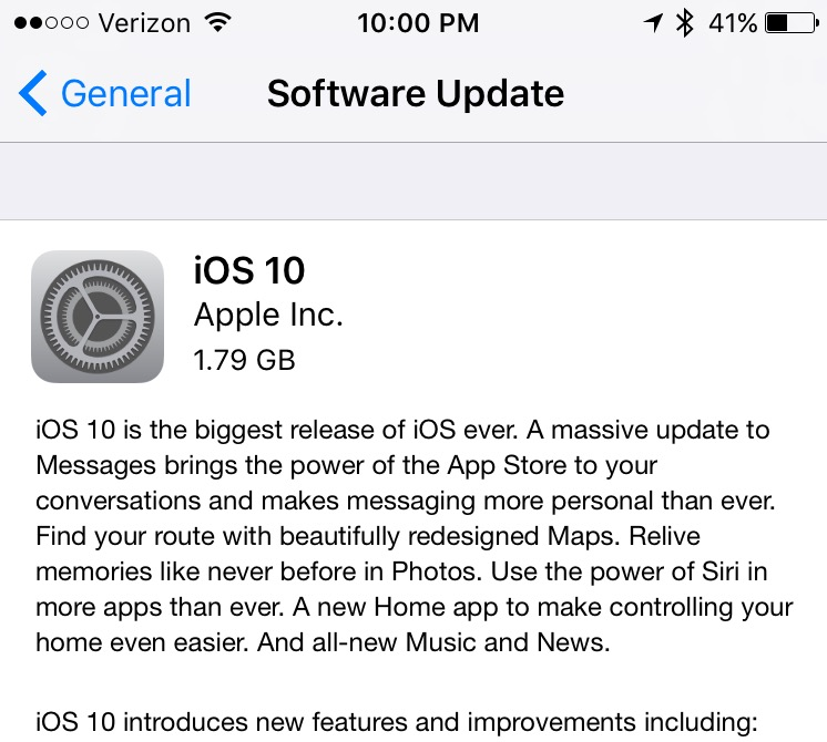 The iOS 10 update is not huge, but it will take a little while to download.
