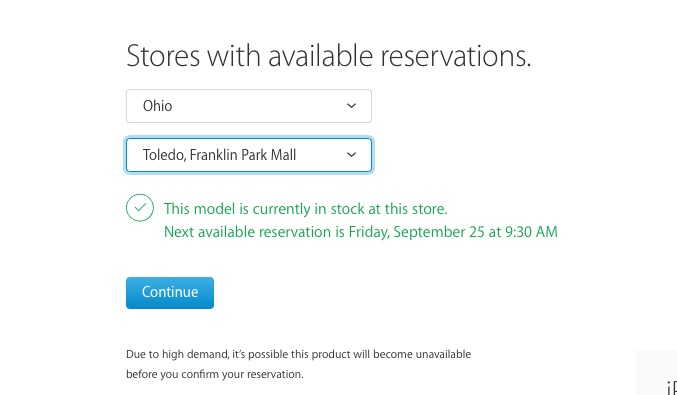 See the iPhone 6s in store pickup times available.