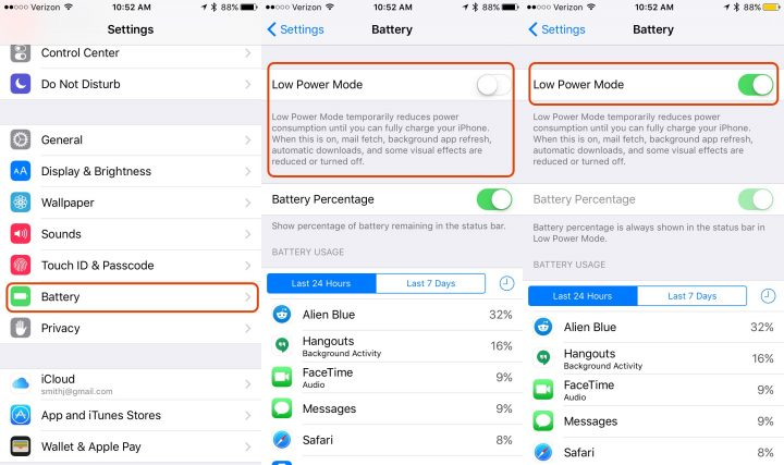 Where to turn on Low Power Mode manually in iOS 9.