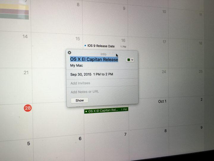 OS X El Capitan Release Date Details