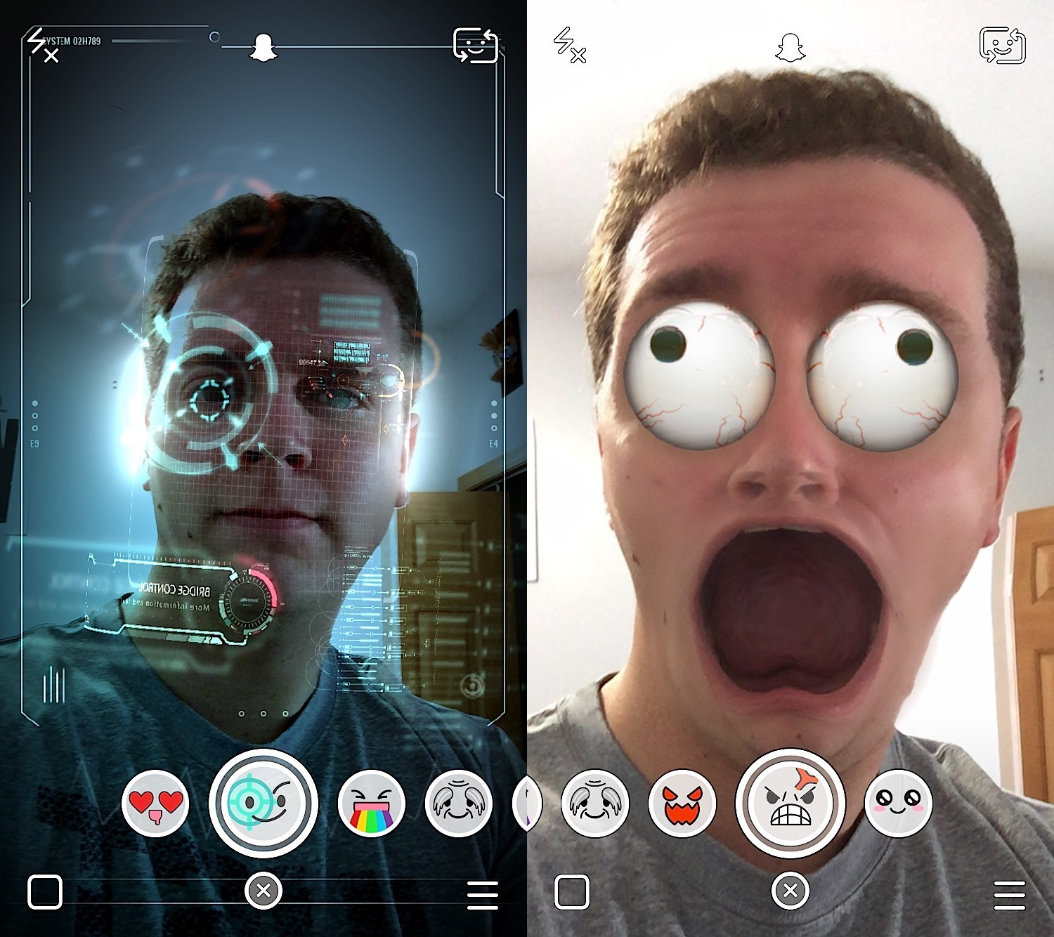 The Snapchat update adds Lenses, which can dramatically change the look of your selfies.