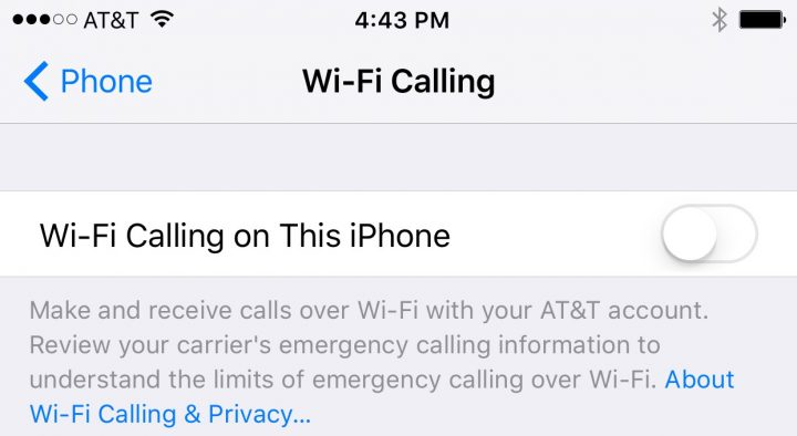 iOS 9 Settings to Change - Wifi calling