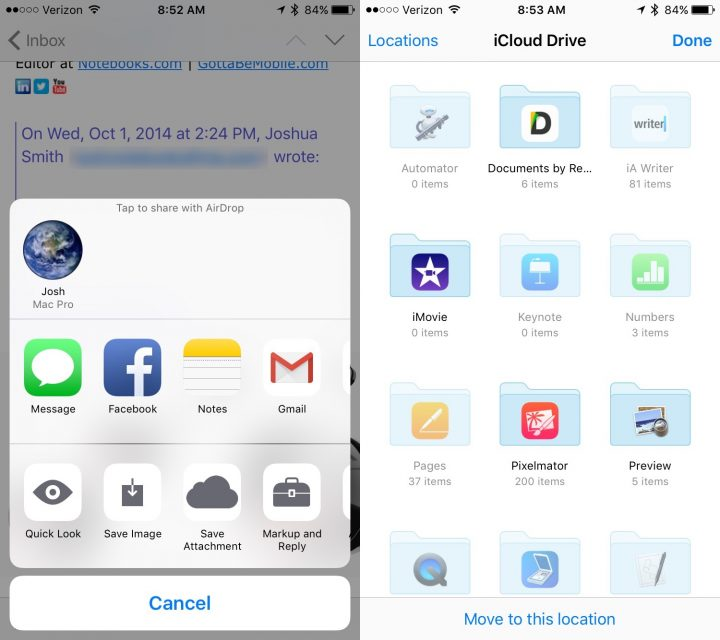 iOS 9 tips Save email attachment to iCloud drive