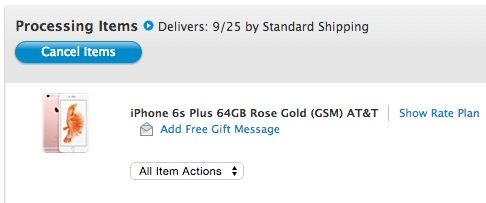 iPhone 6s Plus orders status doesn't show shipping yet.