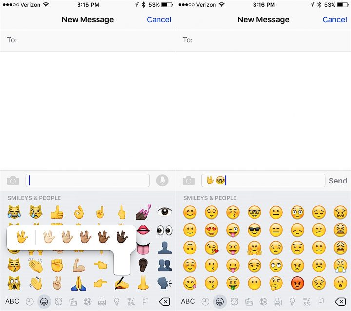 Choose options for the new emojis in iOS 9.1.