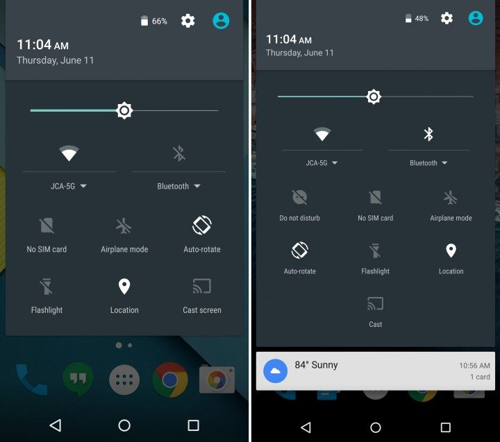 Android 5.1 vs Android 6: Notification Bar Settings