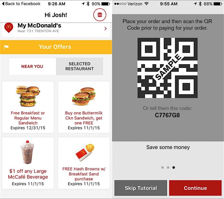 Show the McDonald's App to get free food.