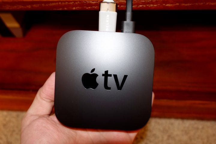 Connect HDMI and power to the Apple TV.