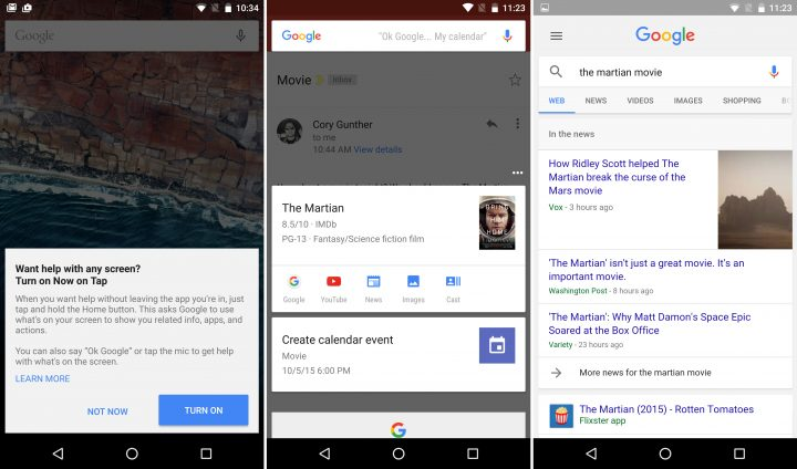 Android 5.1 vs Android 6: Google Now on Tap