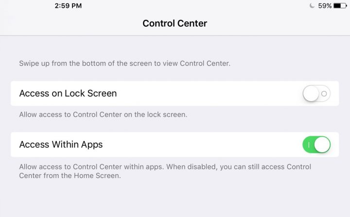 Disable Control Center on Lock Screen
