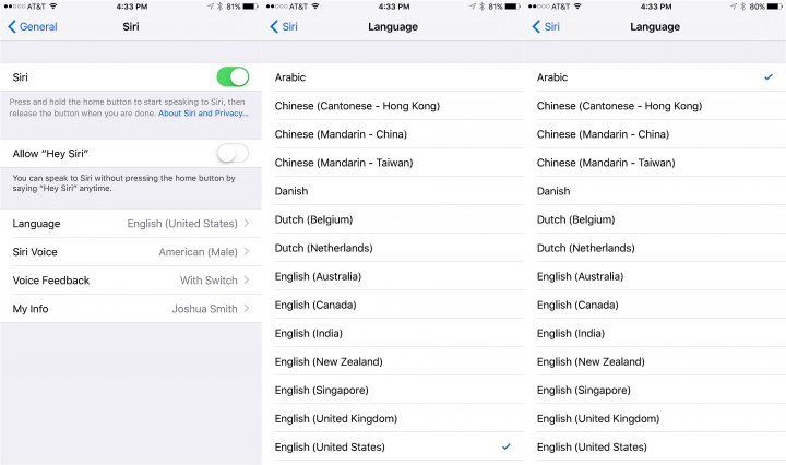 Choose Arabic then change settings you need or train Siri Now.