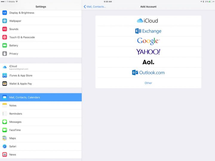 add accounts in ios 9 settings