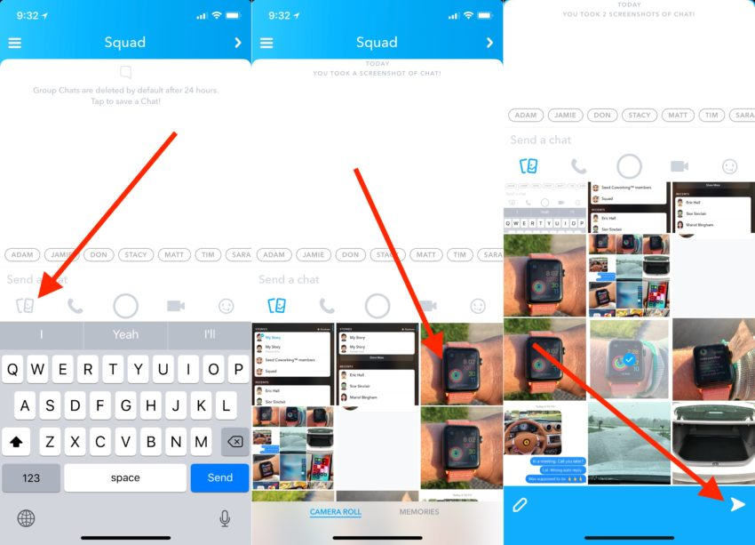 How to upload a photo from your camera roll to Snapchat chat.