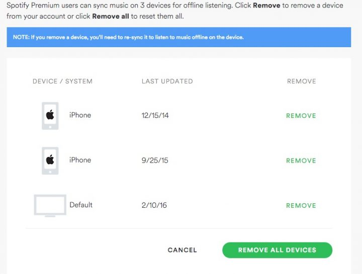 Control Spotify offline devices in your account settings.