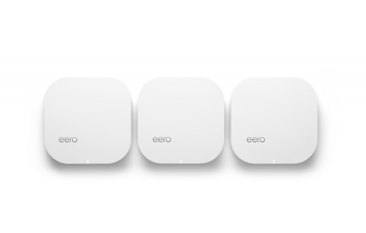 A three-pack of Eero wireless routers.