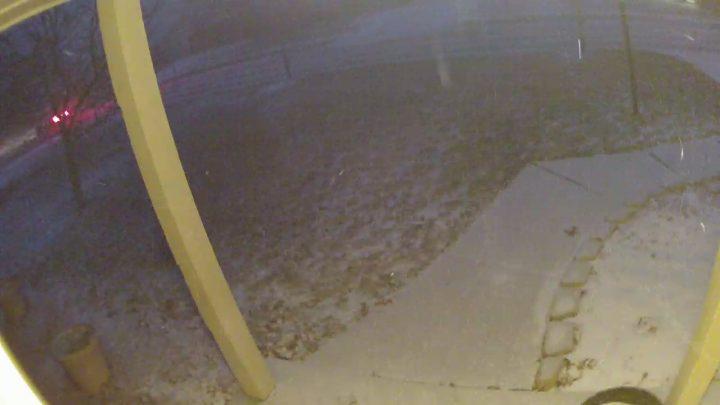 Kuna camera at night while snowing.