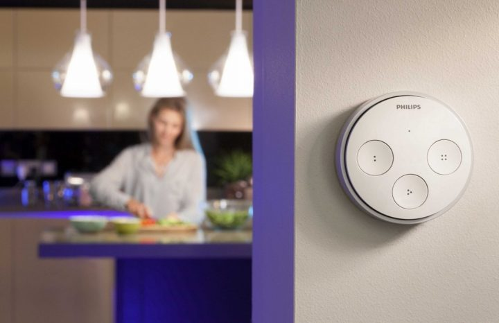 Philips Hue lights and wall controller.