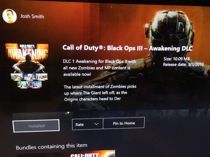 Choose install and you are ready to start playing the Awakening Xbox One Black Ops 3 DLC early.