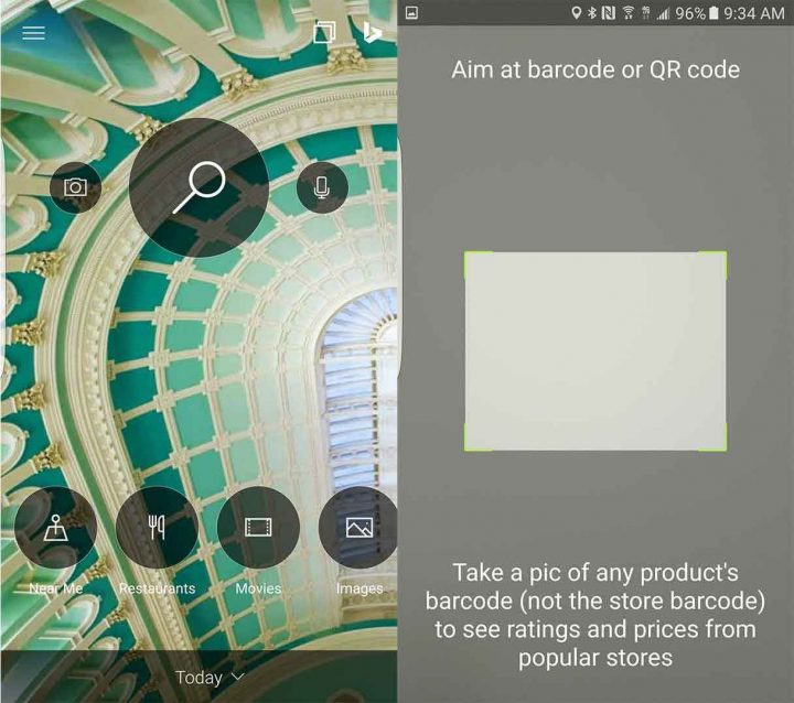 Tap on the camera icon to use the Bing barcode/QR code scanner.