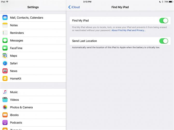 Find My iPad and Send Last Location
