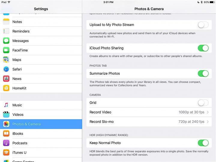 Change iPad Pro Camera Settings