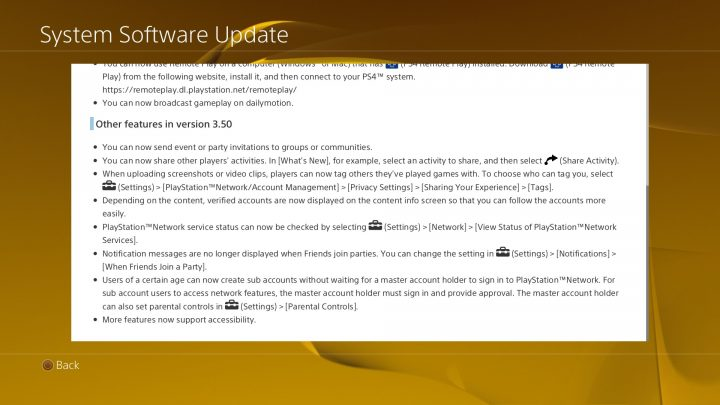 PS4 3.50 Features and Fixes