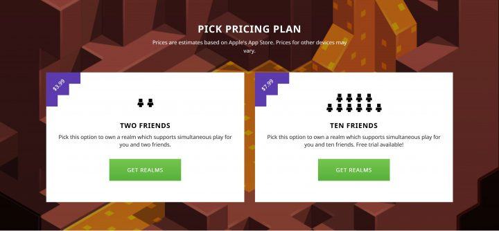 minecraft realms pricing