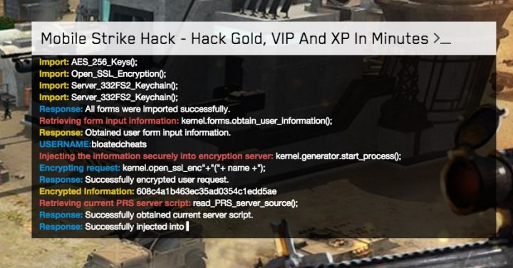 """Mobile Strike Hacks will often show you some kind of code as they """"hack"""" the Mobile Strike servers."""