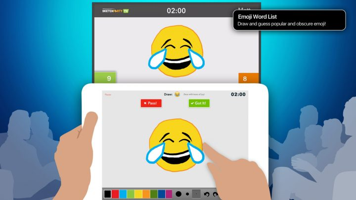 Draw emoji, from the built-in word list or make your own.