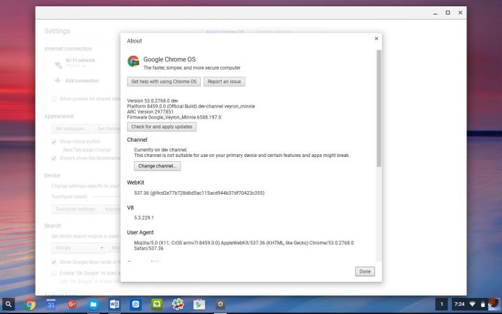 chromebook more info settings