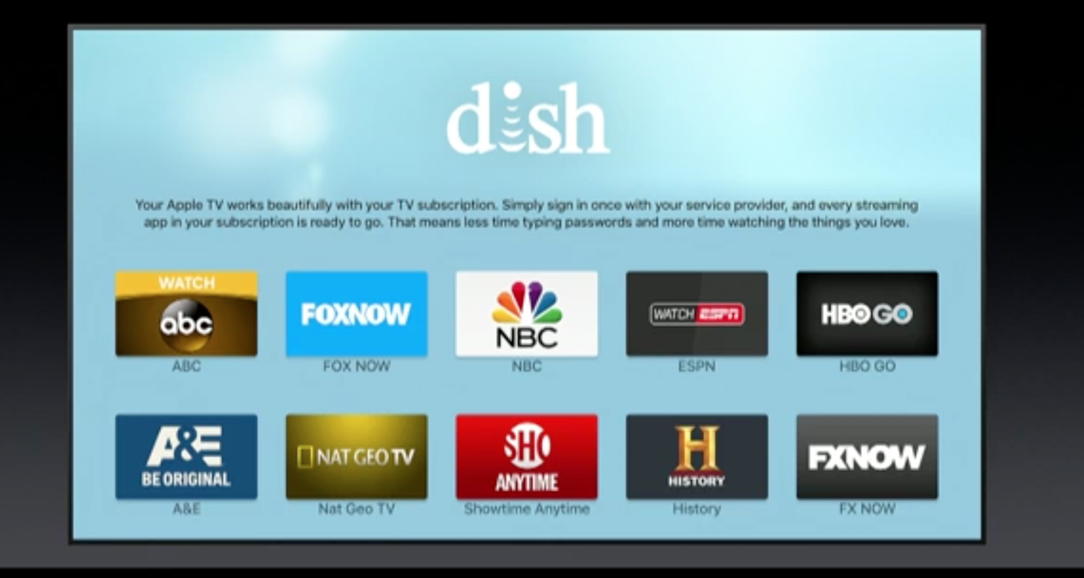 Sign into all your TV apps faster with Single Sign On.