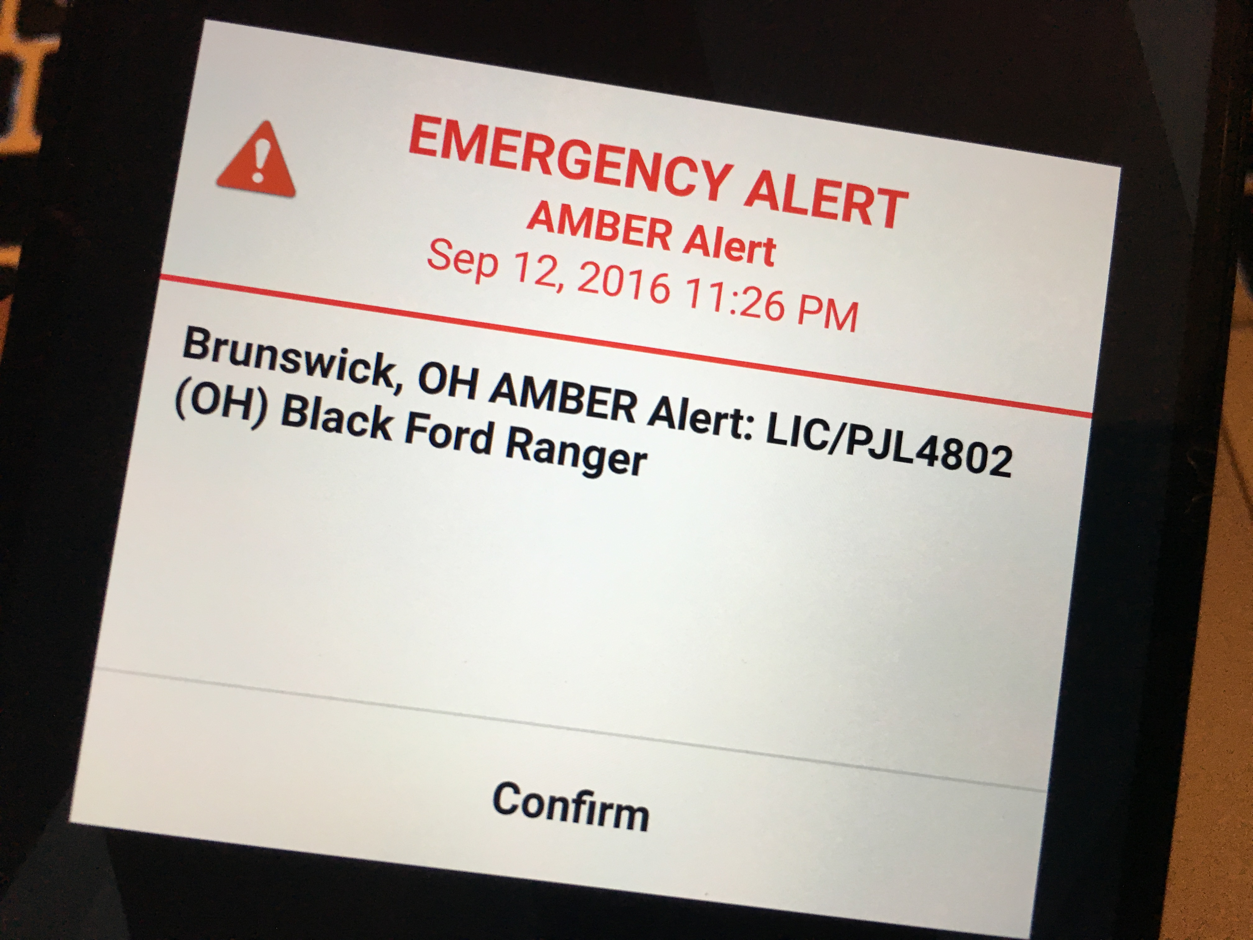 Sample Android amber alert.