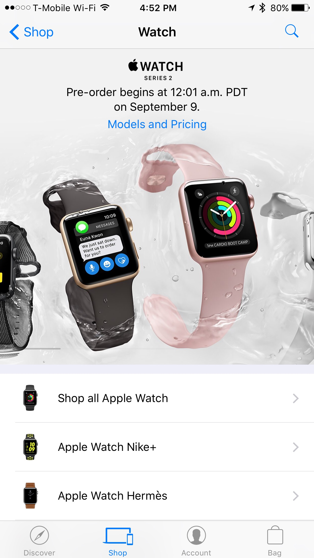 Pre-order the new Apple Watch Series 2 via the Apple Store app on Sep. 9 at 12:01 a.m. PDT.