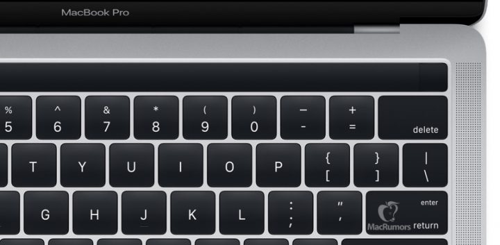 Close up of the 2016 MacBook Pro OLED touch screen with built-in Touch ID.
