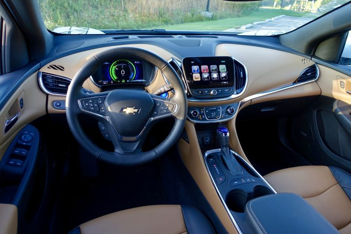 We love the tow-ton interior option on the 2017 Chevy Volt Premier.