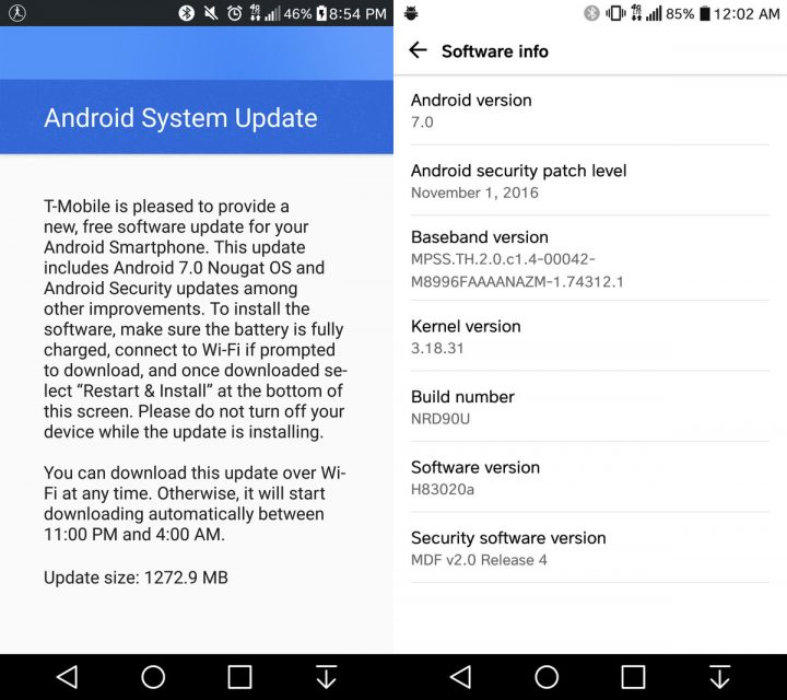 The T-Mobile LG G5 Android 7.0 update is now available