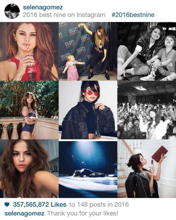 Selena Gomez's #2016bestnine Instagram photos. Credit - @SelanaGome/Instagram